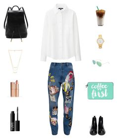 """Untitled #11"" by sjafri ❤ liked on Polyvore featuring Ashish, Marni, Uniqlo, rag & bone, Gorjana, Charlotte Tilbury, Casetify, Kate Spade, Topshop and NARS Cosmetics"