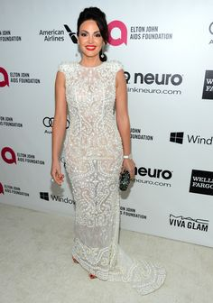 Singer Bleona attends the 22nd Annual Elton John AIDS Foundation's Oscar Viewing Party on March 2, 2014 in Los Angeles, California.(Dress:ZHANG JINGJING 2014 S/S) (March 1, 2014 - Source: Frederick M. Brown/Getty Images North America) Elton John Aids Foundation, Viva Glam, North America, March, Celebrity, Singer, California, American, Formal Dresses