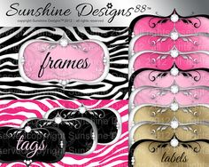 Digital Frame Label Download Zebra Background by SunshineDesigns88, $5.98 Jewelry Frames, Scrapbook Kit, Scrapbooking, Digital, Label, Fun, Etsy, Cricut, Photoshop