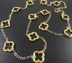 BACK IN STOCK Gold Clover Extra Long 14K Gold by AstersInAugust, $82.00
