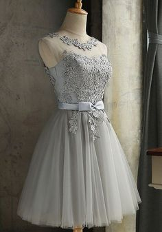 Gray Lace Round Neck Backless Tulle Dress Sexy Graduation Evening Dresses K .Gray Lace Round Neck Backless Tulle Dress Sexy Graduation Evening Dresses Short Bridesmaid Dressgraduation robe graduation graduation party fairy v-neck backless Formal Dresses For Women, Women's Dresses, Short Dresses, Girls Dresses, Backless Dresses, Elegant Dresses, Dresses Online, Beautiful Dresses, Casual Dresses