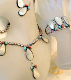 Vintage Navajo Squash Blossom Set -CHEE Necklace Bracelet Earrings -SALE Turquoise Coral Mother of Pearl - 1950 Signed Arrow Sterling Silver...