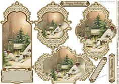 vintage church snowscenes | Vintage Church Snow Scene Toppers