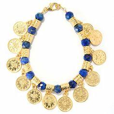 """Antalia™ Turkish Jewelry 18K Gold Embraced™ 8"""" Gemstone & Coin Charm Bracelet"""