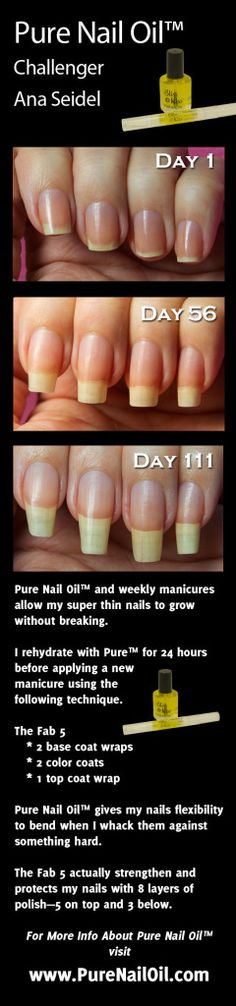 www.NailCareHQ.com nail-strengthener-Ana tests Pure Nail Oil™ nail strengthener and cuticle oil.