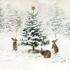 Three Bunnies - christmas card design by Jane Crowther for Bug Art greeting cards. Could be a neat design to use from a rabbit rescue, etc. Christmas Scenes, Noel Christmas, Christmas Animals, Vintage Christmas Cards, Vintage Cards, Winter Christmas, Christmas Crafts, Woodland Christmas, Christmas Bunny