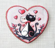 Купить Пряник имбирный Сердце Влюбленные коты, . Кулинарный сувенир - комбинированный, Пряники имбирные