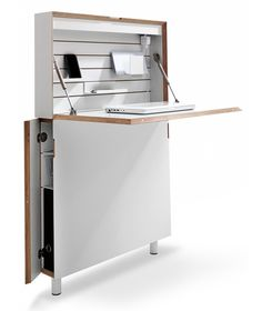 Sweet space-saving desk, storage center. #DIY