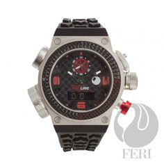FERI RED Line Speed - Swiss Movement - Titanium case - Steel case with Genuine Carbon Fibre - Silicon Strap with square buckle - All dial is Black with Carbon Fibre Pattern, Red & black accents - 10 ATM Selling On Pinterest, Optical Glasses, Black Accents, Best Relationship, Black Silver, Red Black, Casio Watch, Luxury Watches, Carbon Fiber
