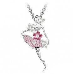 Rózsaszín táncoshölgy nyaklánc  I Swarovski Elements I FEMINASHOP
