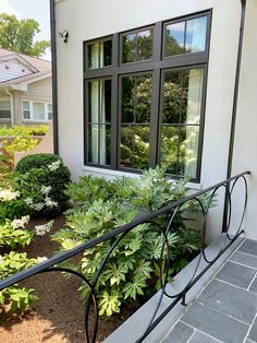 the southern team has spoken! And it was something I had not thought of. Too much white for the pr. Black Railing, Street House, Iron Doors, Stairways, Curb Appeal, Outdoor Spaces, Porch, New Homes, Exterior