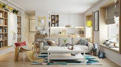 intérieur scandinave, canapé droit gris perle et table basse assortie