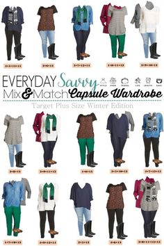 Looking for a fun winter plus size capsule wardrobe? Check out this one with 15 mix and match items from Target women's clothes line of Ava and Viv. It's trendy and affordable. That is a big win in my book. This making getting dressed and looking great ea Plus Zise, Mode Plus, Fashion Moda, Curvy Fashion, Womens Fashion, Ladies Fashion, High Fashion, Plus Size Fashion For Women, Plus Size Women