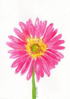 Original watercolor Pink Painting Gerbera Daisy by SharonFosterArt, $18.00