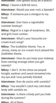"I am Mikey, Mikey is me, we are one. /// Mikey never speaks in interviews but when he does it's pure GOLD << ""Do you guys think I look like Darth Vader in this jacket?"" LIKE MIKEY NEEDS TO TALK Emo Band Memes, Mcr Memes, Emo Bands, Music Bands, Emo Meme, My Chemical Romance, Music Stuff, My Music, Mikey Way"