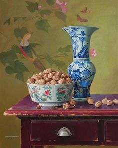 "Yin Yong Chun,  A Big Bowl of Walnuts and Fragrant Flower, 2010, oil on canvas, 30 x 24"" at William Baczek Fine Arts www.wbfinearts.com"