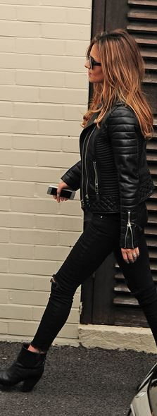 Black leather jacket, skinny jeans, and leather ankle boots