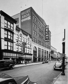 Hecht Brothers department store at Baltimore & Pine Streets. Now the site of the University of MD School of Pharmacy - Baltimore,Md. circa 1948.