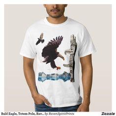 Bald Eagle, Totem Pole, Raven & Mountain scene Tee Shirt