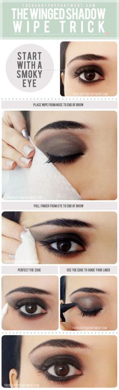 TUTORIAL – Winged Eye Makeup Wipe Trick #makeup #eyeshadow