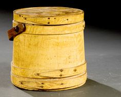 19thC Lidded Firkin with Bentwood Handle in Old Mustard Paint.