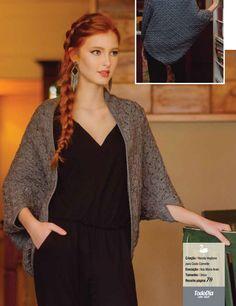 Pelerine de Tricô Cinza - Fio Cisne TodoDia - Blog do Bazar Horizonte Weaving Patterns, Models, Knit Crochet, Saree, Boho, Knitting, Womens Fashion, Shawls, Wrapping