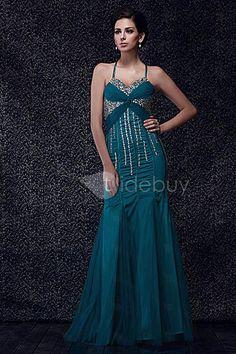 マーメイドスパゲティストラップ床までの長さイブニングドレス