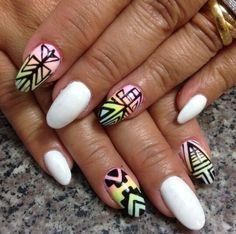 White rounded tribal nails