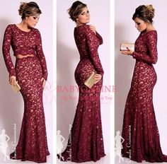 Elegant Burgundy Long Sleeves Mermaid Lace Evening Dresses 2014 New Prom Gown Vestido de Renda Special Occasion Dresses BO2471 $159.00