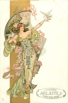 Full Sized Image: woman in light green & purple, dove on outstretched hand & right upper arm - TuckDB
