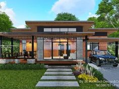 Contemporary Bungalow with Two Bedrooms and a Royal Room - House And Decors Modern Style Homes, Modern Bungalow, Bungalow House Design, Small House Design, Cool House Designs, Home Building Design, Building A House, Modern Architectural Styles, One Storey House