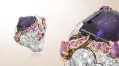 Bianfu ring, white gold, diamonds, pink gold, pink sapphires, one emerald-cut purple sapphire of 23.34 carats - Van Cleef & Arpels
