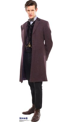 Doctor Who: Eleventh Doctor Purple Coat Cardboard Standup Life-size cardboard standup of The Doctor from Doctor Who stands at a size of 70″ x 26″. The Doctor is a Time Lord, or time traveler, that can regenerate lives and changes bodies every time. The Doctor uses his TARDIS to travel. Doctor Who is a science fiction television show. It is British and is produced by BBC. The Doctor is the main character of the show, and he is the one who fights off evil. Get your Doctor Who cutout today!
