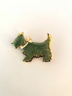 Excited to share the latest addition to my #etsy shop: Vintage- Scotty Dog - Brooch - Pin https://etsy.me/2GKHNAy #jewelry #brooch #gold #green #no #unisexadults #scotty #dog #pin