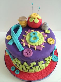 Fashion, fabric & fun themed birthday cake by Baked Keepsakes.