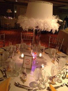 Lamp centerpieces for a sparkling Mango Sweet 16