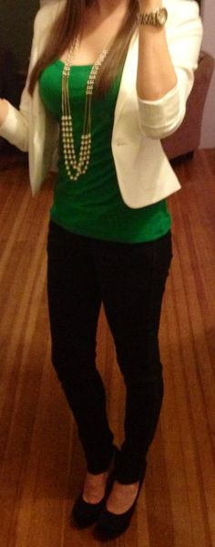 St. Patty's Day outfit: Black platform pumps, black skinnies, green tank, white blazer, pearls, watch.