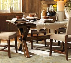 Toscana Fixed Dining Table #potterybarn (hire to make, with driftwood/seadrift or mixed finish?)