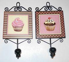 Cupcake Kitchen Decor Brown Pink Polka Dot Hooks Chic Shabby Set Of 2