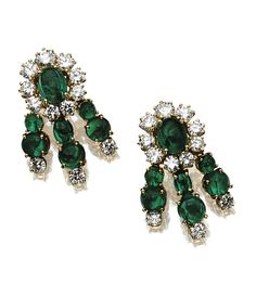 PAIR OF CABOCHON EMERALD AND DIAMOND EARCLIPS, VAN CLEEF & ARPELS.  The floral cluster tops supporting flexible triple fringes, set with oval and round cabochon emeralds and with 24 round diamonds weighing approximately 4.25 carats, mounted in 18 karat gold, signed VCA, numbered NY 50927. With box stamped Van Cleef & Arpels.