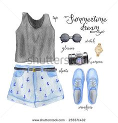 Summer outfit for teenager. Hand drawn watercolor fashion illustration.