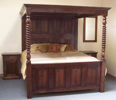 canopy wood beds | Four poster bed, canopy beds, oak country furniture, bedroom wood