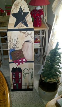 Wooden ironing board painted