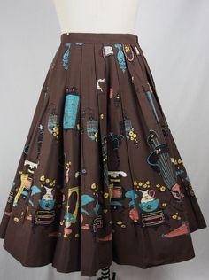"""Vintage 1950s Novelty Print Cotton Skirt-Fabulous Print-""""Antique Auction"""""""