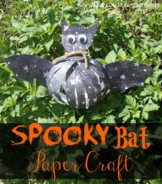 This super cute spooky bat paper craft will add a quick spooky flair to any home decor! Use it with pumpkins and witches for a spooky but cute design.