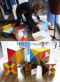 so neat!! This would be a cool DIY for a kids room... painted wooden cubes to sit on, do craft on. Via Design Files.