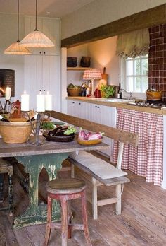 Farmhouse Kitchen Design Ideas On A Low Budget , The kitchen includes a regal design style, which is definitive of the remainder of the home too. Primitive Kitchen, Cozy Kitchen, New Kitchen, Kitchen Dining, Kitchen Decor, Kitchen Cabinets, Kitchen Ideas, Dining Table, Rustic Cabinets