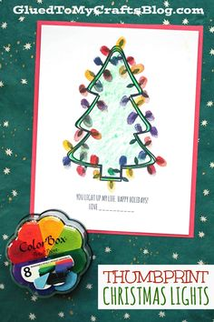 """Thumbprint You Light Up My Life - Kid Craft - Make a festive & beautiful light show with our super easy Thumbprint Christmas Lights kid craft idea & free """"you light up my life"""" printable! Holiday Thumbprint You Light Up My Life - Kid Craft Preschool Christmas Crafts, Winter Crafts For Kids, Christmas Activities, Kids Christmas, Preschool Crafts, Christmas Lights, Christmas Themes, Holiday Crafts, Holiday Fun"""