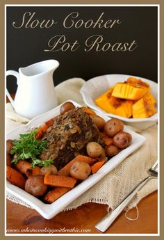 Slow Cooker Pot Roast is quick and delicious for Sunday Dinner! by whatscookingwithruthie.com #recipes #beef #dinner