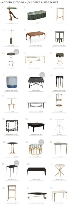 The modern victorian trend calls for interesting side and coffee tables. Here are our favorites. #interiordesign #coffeetable #sidetable #modern #victorian